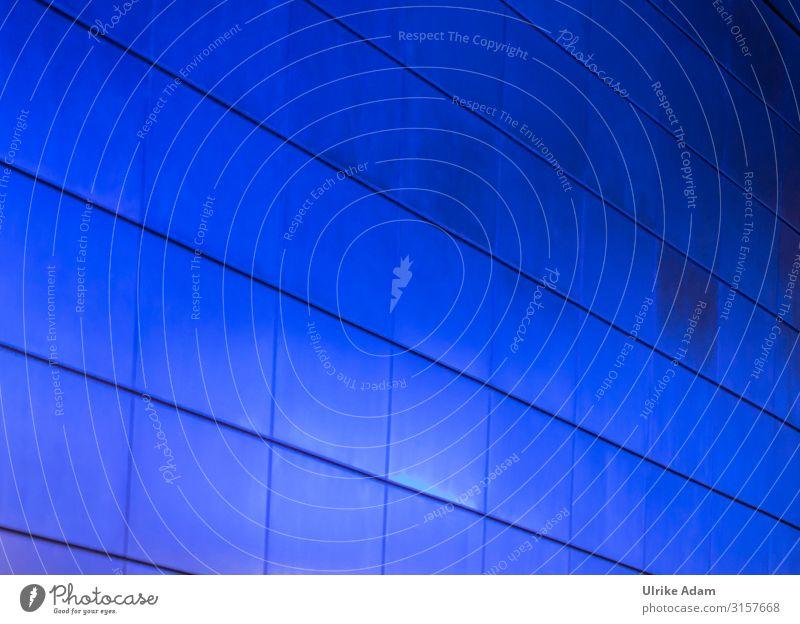 Blau Design Hamburg Deutschland Stadt U-Bahnstation Mauer Wand Fliesen u. Kacheln glänzend leuchten blau Farbe Licht Hintergrundbild Symmetrie Farbfoto