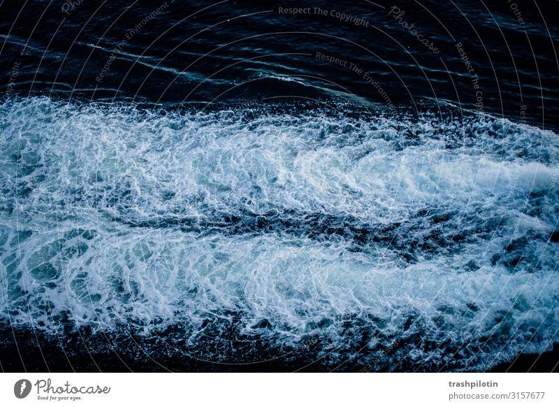 paralleles meer Natur Landschaft Wasser Ferien & Urlaub & Reisen Wasserfahrzeug Meer Wellen Gischt fahren Farbfoto Außenaufnahme Dämmerung