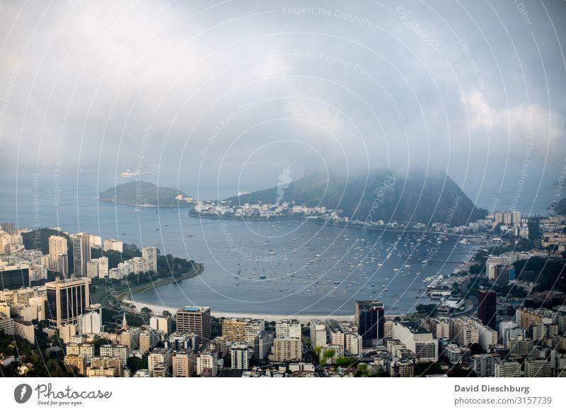 Rio de Janeiro Ferien & Urlaub & Reisen Tourismus Ausflug Ferne Sightseeing Städtereise Landschaft Himmel Wolken Schönes Wetter Nebel Küste Bucht Meer Stadt