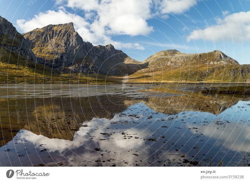 Berge und Meer Ferien & Urlaub & Reisen Berge u. Gebirge Umwelt Natur Landschaft Himmel Schönes Wetter Fjord Norwegen Norwegenurlaub Skandinavien Lofoten