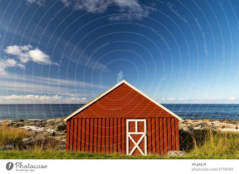 Haus am Meer Ferien & Urlaub & Reisen Umwelt Natur Landschaft Himmel Horizont Sommer Schönes Wetter Gras Felsen Küste Norwegen Lofoten Skandinavien Hütte