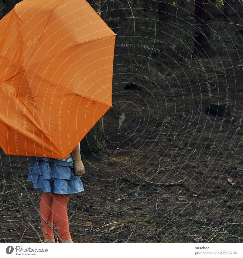 mit schirm im wald Kind Mädchen Schirm Regenschirm Unterholz Wald Baum Ast Waldboden dunkel Einsamkeit einzeln mehrfarbig orange Rock stehen Rotkäppchen