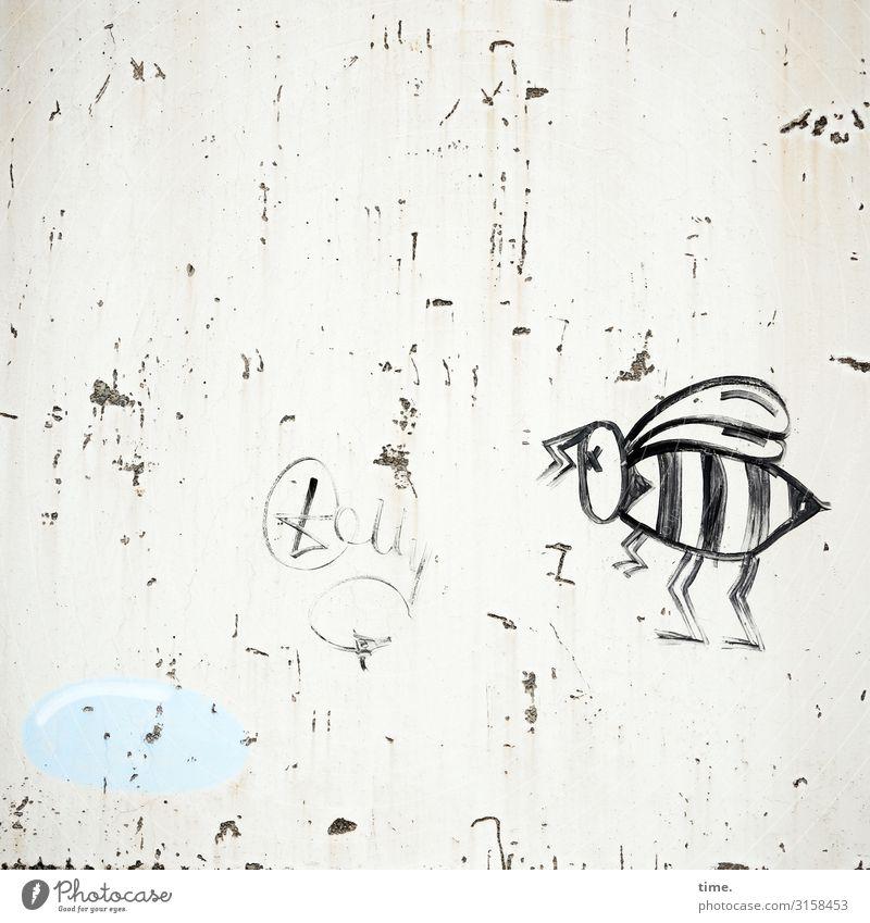 Maja ist sauer Kunst Gemälde Mauer Wand Biene Stein Beton Graffiti Tatkraft Leben Neugier Überraschung Misstrauen Neid Stolz Ärger gereizt Frustration