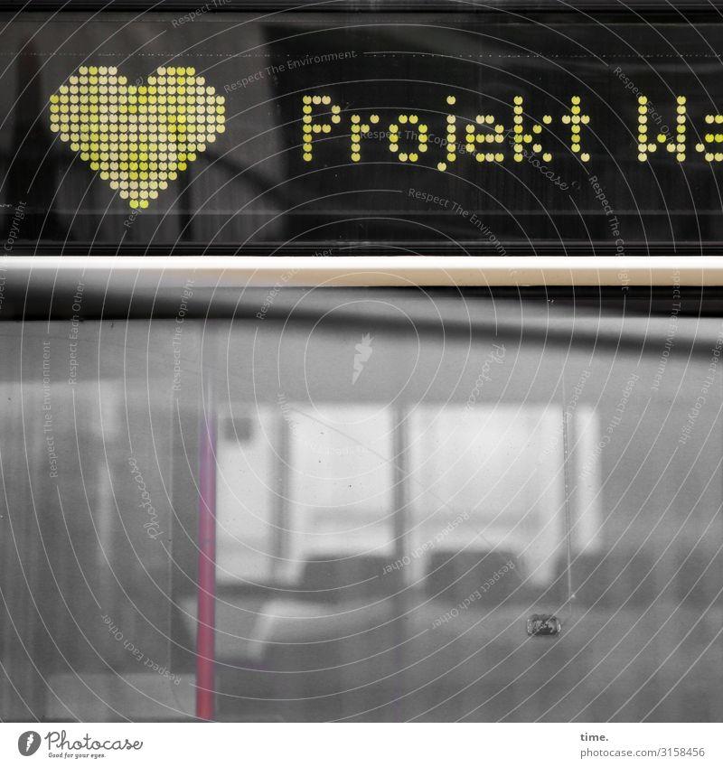 Projekt <3 Informationstechnologie Anzeige Bus Sitzgelegenheit Glas Metall Zeichen Schriftzeichen Schilder & Markierungen Herz Netzwerk Neugier Interesse Idee