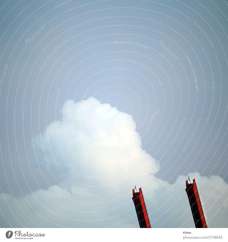 Streckübung Handel Güterverkehr & Logistik Dienstleistungsgewerbe Maschine Technik & Technologie Himmel Wolken Hafen Gleise Kran Metall Linie rot Einsamkeit