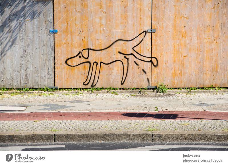 Wildpinkeln an Bauzaun Subkultur Straßenkunst Bürgersteig Fahrradweg Comic Gassi gehen außergewöhnlich Stimmung ignorant Kreativität Leichtigkeit Pause