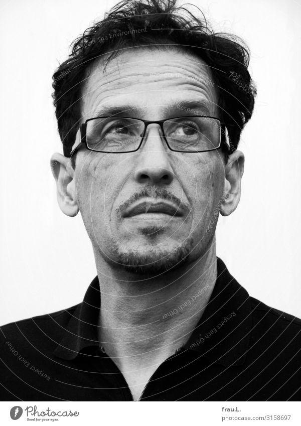 Kritisch Mensch Mann Erwachsene Bart 1 45-60 Jahre Brille schwarzhaarig beobachten Blick sportlich authentisch schön Wachsamkeit skeptisch nachdenklich