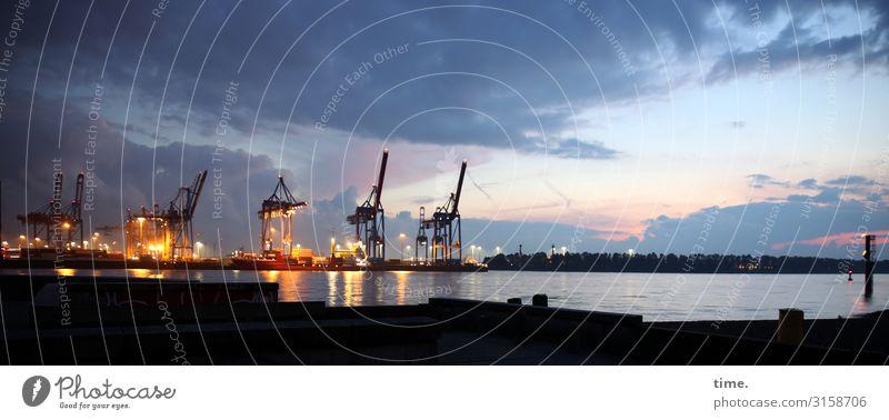 Nachtschicht Himmel Wolken Ferne Leben Küste Arbeit & Erwerbstätigkeit Kommunizieren Energiewirtschaft Technik & Technologie Kraft Romantik Hamburg Fluss