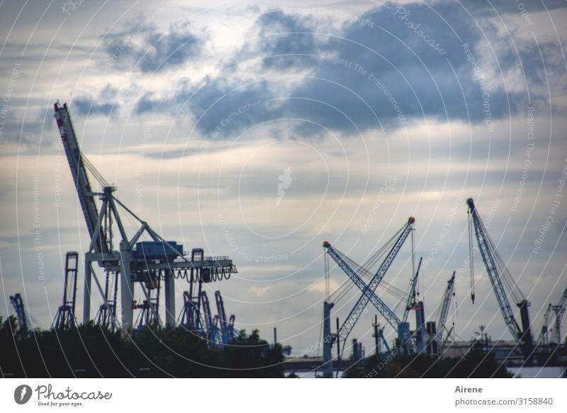Hamburg Blues | UT Hamburg Himmel Wolken Hamburger Hafen Hafenstadt Sehenswürdigkeit Kran Hafenkran Arbeit & Erwerbstätigkeit Bekanntheit eckig hoch kalt