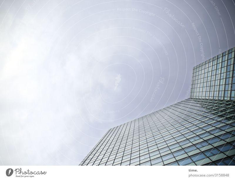Glaspalast Himmel Wolken Schönes Wetter Haus Hochhaus Architektur Mauer Wand Fassade Fenster Linie einfach hoch modern Stadt Kraft standhaft Ordnungsliebe Stolz