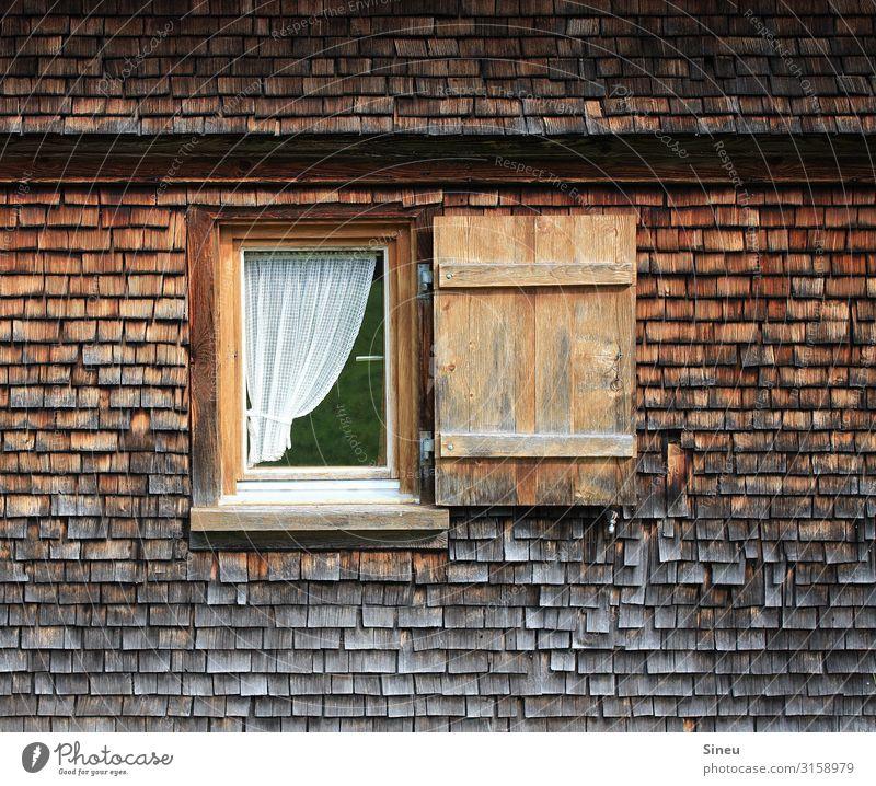 Fenster zum Glück Holzhaus Hütte Fensterladen Schönes Wetter Mauer Wand Glas Häusliches Leben alt authentisch natürlich braun Senior ästhetisch Einsamkeit