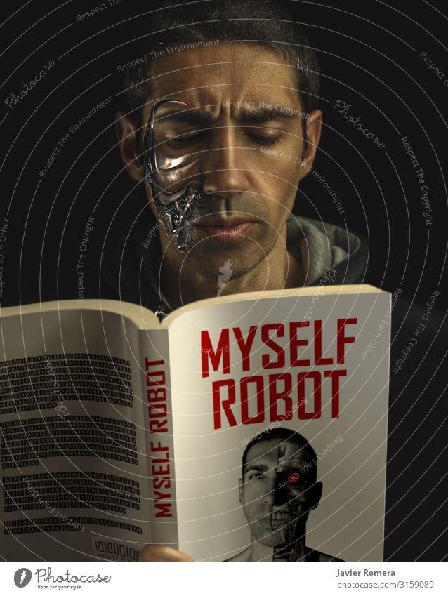Roboter-Mensch lesen. Science Fiction Mann Sci-Fi Künstliche Intelligenz Beschädigte ia Literatur Buch Wissen Leser konzentriert Technik & Technologie Kultur
