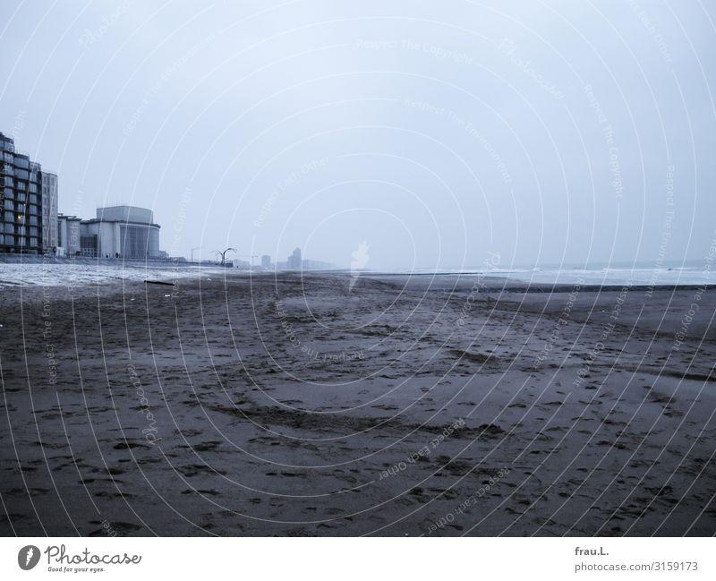 Öder Strand Ferien & Urlaub & Reisen Ausflug Meer Winter Umwelt Landschaft Sand Wasser Himmel Nordsee Haus Hochhaus Denkmal außergewöhnlich hässlich kalt trist