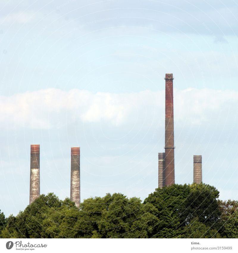 Himmelfahrtskommando (IV) Arbeit & Erwerbstätigkeit Arbeitsplatz Fabrik Wirtschaft Industrie Wolken Schönes Wetter Baum Wald Turm Bauwerk Gebäude Architektur