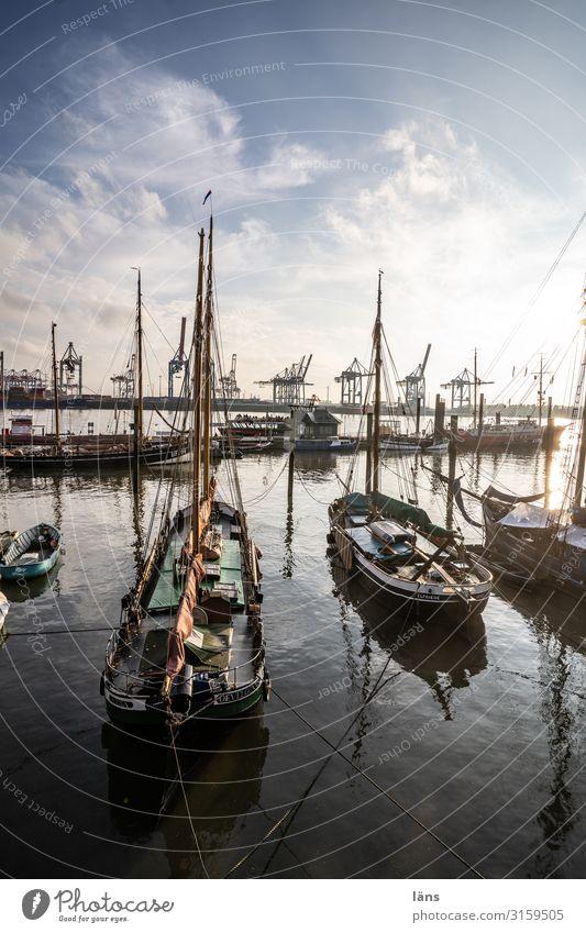 Bereitschaft -1500 Wetter Schönes Wetter Fluss Elbe Schifffahrt Segelboot maritim Beginn stagnierend Stadt Wege & Pfade Hafen Hamburg Segelboote