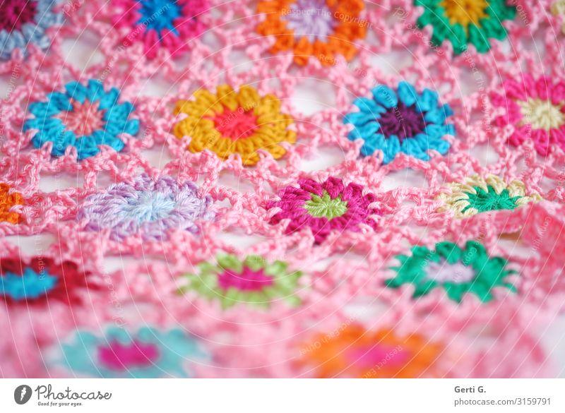 Häkelblümchen in rosé Farbe grün Freude Lifestyle gelb orange rosa Häusliches Leben Design Wohnung Freizeit & Hobby Dekoration & Verzierung Fröhlichkeit Idee
