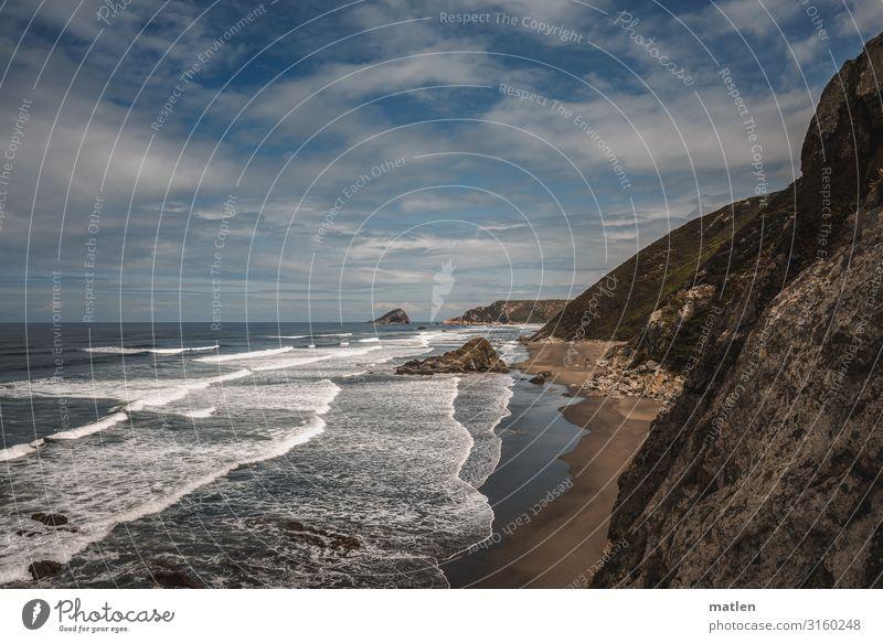 Steilkueste Natur Landschaft Luft Wasser Himmel Wolken Horizont Sommer Schönes Wetter Wind Felsen Wellen Küste Strand Meer eckig maritim blau braun weiß Klippe