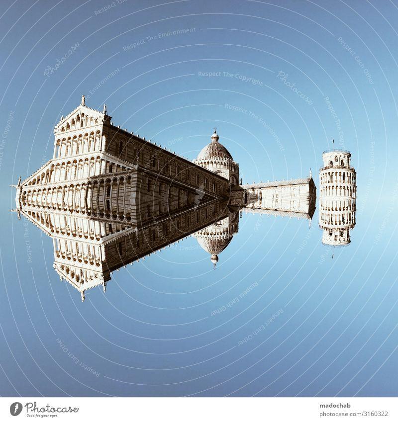 Der schiefe Turm von Pisa mit Entourage Italien Stadt Altstadt Skyline Menschenleer Kirche Dom Palast Burg oder Schloss Ruine Marktplatz Rathaus Bauwerk Gebäude