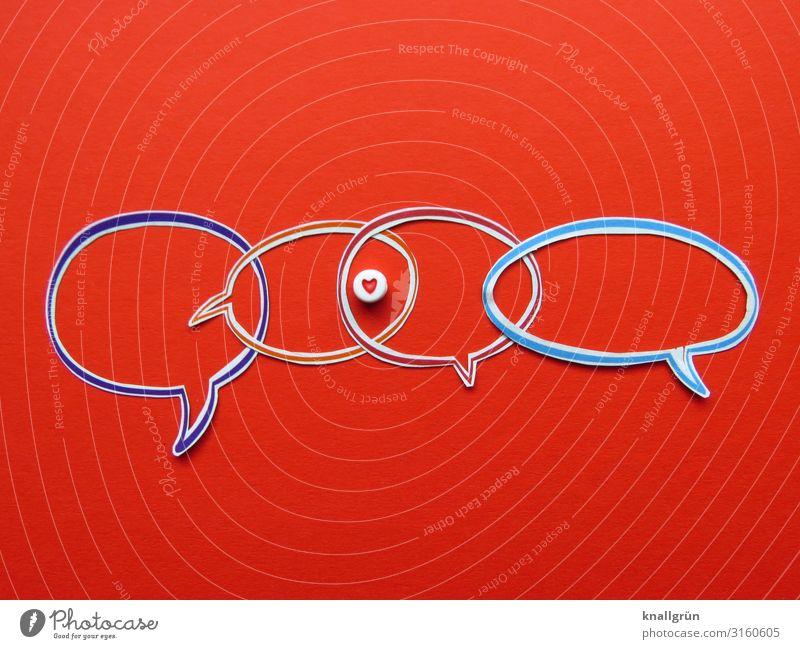 Liebe Zeichen Herz Kommunizieren mehrfarbig rot Gefühle Glück Sympathie Freundschaft Zusammensein Verliebtheit Interesse Partnerschaft Zusammenhalt Sprechblase