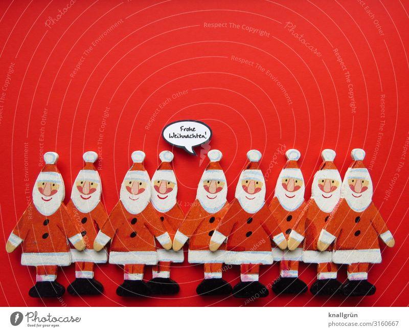 Frohe Weihnachten! Dekoration & Verzierung Schriftzeichen Schilder & Markierungen Sprechblase Kommunizieren Zusammensein rot weiß Gefühle Stimmung Freude