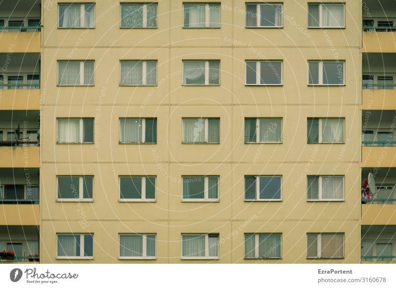 Unterkunft Haus Bauwerk Gebäude Architektur Mauer Wand Fassade Balkon Fenster Beton Glas Linie gelb grau Leben Stimmung Häusliches Leben viele Gardine Wohnhaus