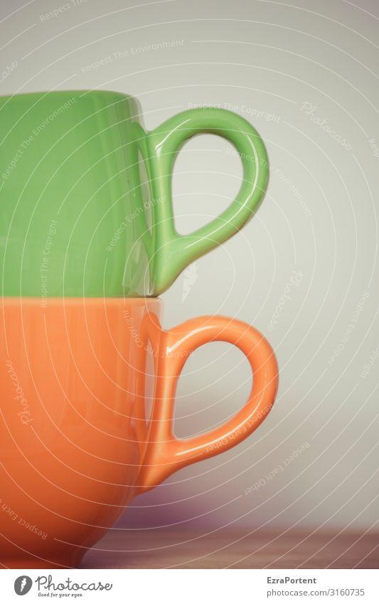 Frau und Herr Henkel-Tasse 2 zwei Paar grün orange Zusammensein gestapelt Getränk trinken