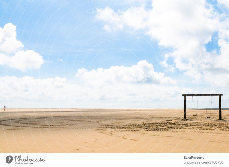ohne Personen Strand Landschaft Urlaub Ferien & Urlaub & Reisen Sand Schaukel Himmel Wolken Spuren Erholung Ruhe leer blau Sommer Menschenleer Natur Meer