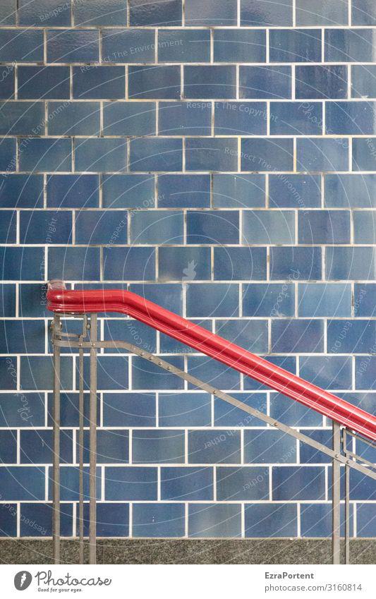 -\ blau rot Wand Mauer Fassade Design Linie ästhetisch festhalten Streifen Bauwerk Geländer graphisch Fliesen u. Kacheln Halt Grafische Darstellung