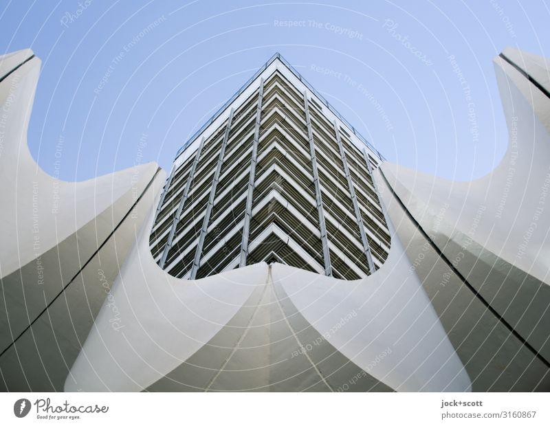 1971 Architektur DDR Wolkenloser Himmel Berlin-Mitte Hochhaus Gewerbebau Fassade eckig groß hoch einzigartig modern retro Stadt grau Stimmung Optimismus