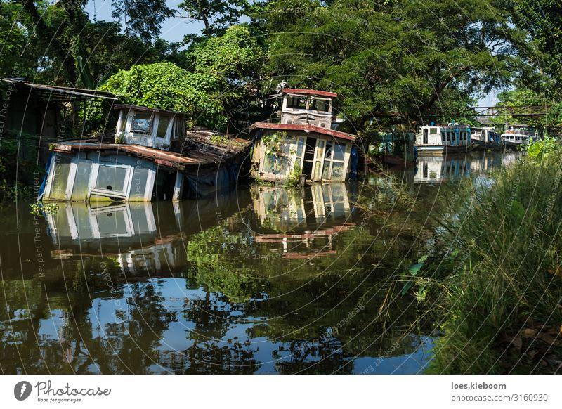 Sunken house boats in Kerala backwater Ferien & Urlaub & Reisen Tourismus Abenteuer Ferne Sightseeing Natur Schönes Wetter exotisch Flussufer Schifffahrt