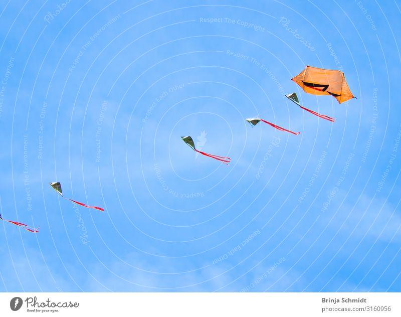 Viele schöne, farbenfrohe Drachen, fliegen im blauen Himmel Freude Freizeit & Hobby Spielen Drachen steigen lassen Sport Subkultur Veranstaltung Natur Fahne