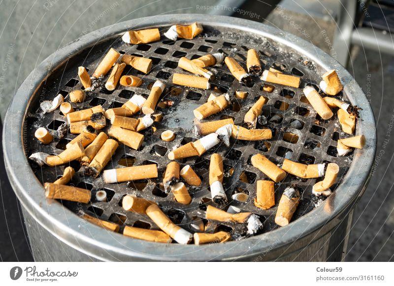 Zigarrettenkippen Lifestyle Rauchen trashig zigarretten zigarettenkippen Aschenbecher ausgedrückt ungesund sucht raucherpause filterzigarette Farbfoto