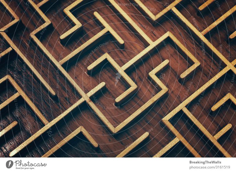 Holzbraunes Labyrinth-Labyrinth-Puzzle aus nächster Nähe Freizeit & Hobby Spielen Kinderspiel Güterverkehr & Logistik Business Spielzeug Denken Kreativität