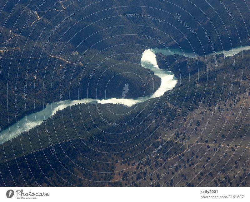 Flusslauf... Natur Flussbett Wald Vogelperspektive Landschaft Flugzeugausblick Sonnenlicht Reflexion & Spiegelung Lichtreflexion Berge u. Gebirge naturbelassen