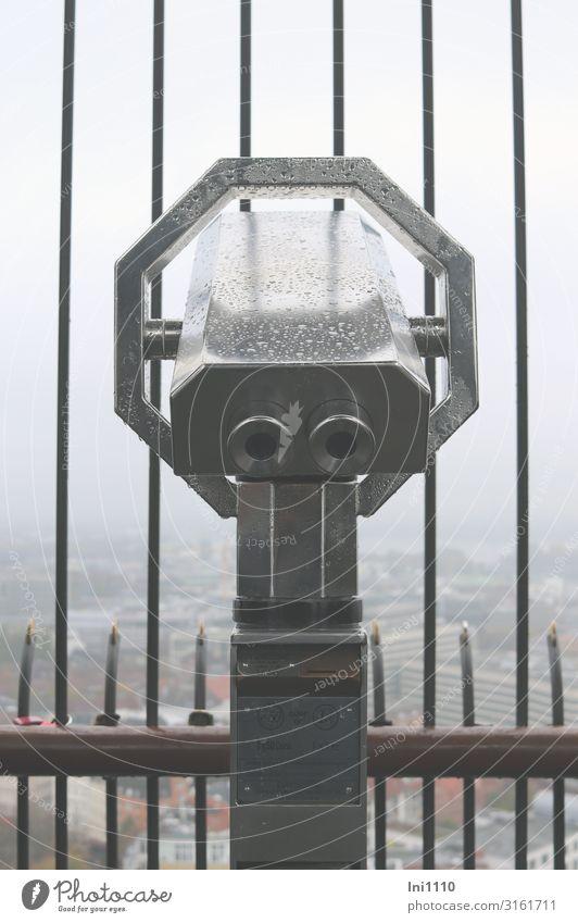 Fernblick | UT Hamburg Luft Himmel Herbst schlechtes Wetter Nebel Hafenstadt Menschenleer Fernglas Teleskop Glas Metall grau schwarz Gitter Nebelschleier