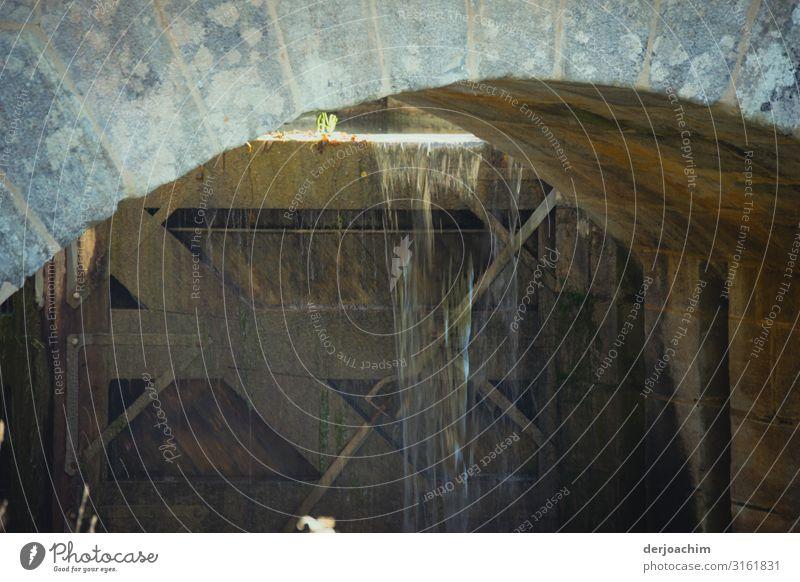 Schleusentor defekt. Das Wasser fließt von oben durch einen Durchgang nach unten. Design Leben Umwelt Sommer Schönes Wetter Bayern Deutschland Menschenleer Holz