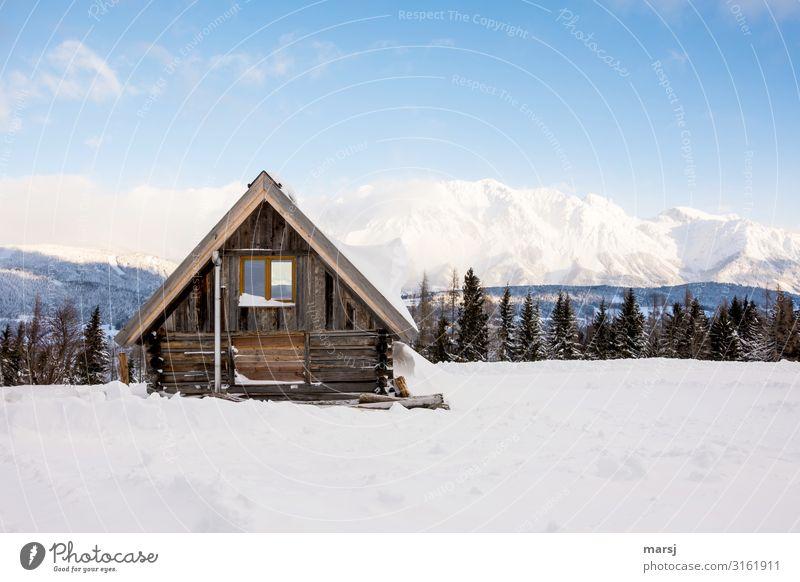 Winterurlaub Ferien & Urlaub & Reisen blau Einsamkeit Berge u. Gebirge kalt Schnee Tourismus Eis Idylle Abenteuer Schönes Wetter einzigartig einfach Alpen