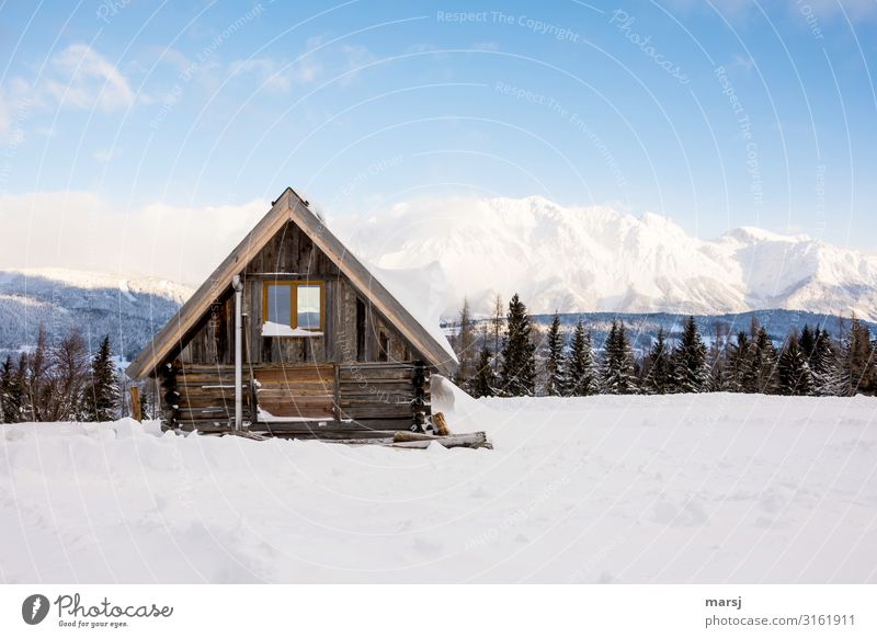 Winterurlaub Ferien & Urlaub & Reisen Tourismus Abenteuer Schnee Schönes Wetter Eis Frost Alpen Berge u. Gebirge Schneebedeckte Gipfel Hütte einfach kalt blau