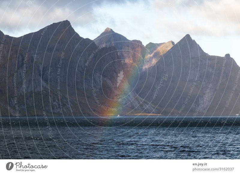 Die andere Seite des Regens Umwelt Natur Landschaft Urelemente Himmel Klima Klimawandel Wetter Felsen Berge u. Gebirge Küste Fjord Meer Farbe Hoffnung Idylle