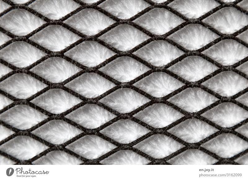 hinter Gittern Winter Eis Frost Schnee kalt Eiskristall Gitterrost Farbfoto Gedeckte Farben Außenaufnahme Nahaufnahme Detailaufnahme abstrakt Muster