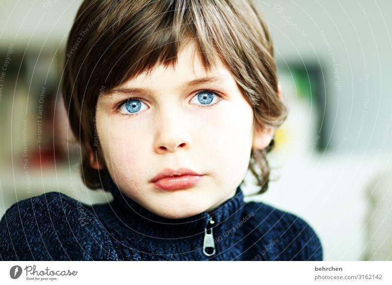 behind blue eyes Kind Junge Familie & Verwandtschaft Kindheit Haut Kopf Haare & Frisuren Gesicht Auge Nase Mund Lippen 3-8 Jahre träumen schön blau Traurigkeit