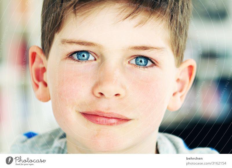2018 Junge Familie & Verwandtschaft Kindheit Haut Kopf Haare & Frisuren Gesicht Auge Ohr Nase Mund Lippen 3-8 Jahre Neugier niedlich blau Glück Coolness