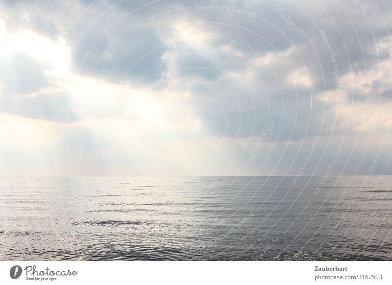 Silbersee Natur Urelemente Luft Wasser Himmel Wolken Sonnenlicht Wetter Wellen Ostsee Meer Blick Ferne glänzend Unendlichkeit maritim grau silber schön ruhig