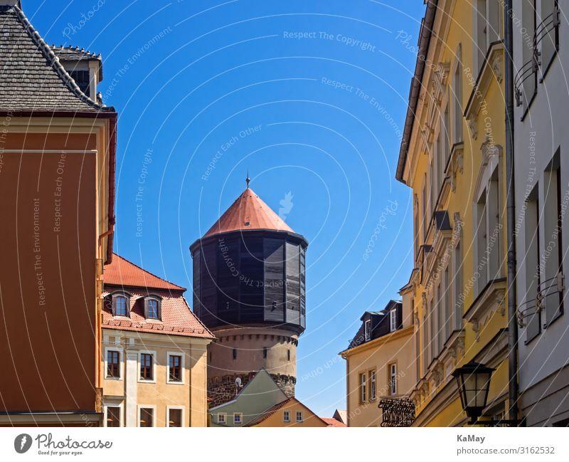 Altstadt von Bautzen Städtereise Sommer Sachsen Deutschland Europa Stadt Menschenleer Haus Turm Bauwerk Gebäude Architektur Wasserturm Fassade Sehenswürdigkeit
