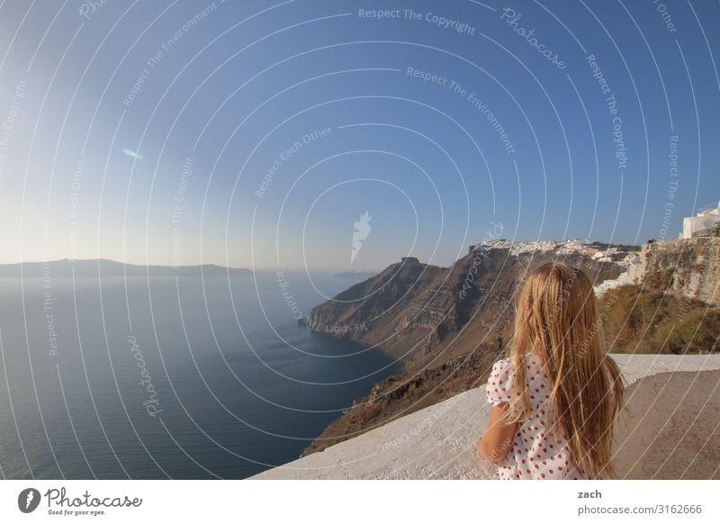 900 - gute Aussichten Mensch feminin Mädchen Kindheit 1 8-13 Jahre Landschaft Himmel Schönes Wetter Hügel Meer Mittelmeer Ägäis Caldera Insel Santorin Kykladen