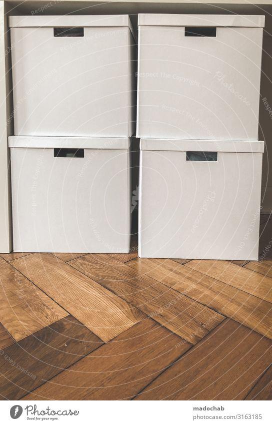 Verpackt - gestapelte Kartons Aufbewahrung Ordnung Lifestyle Häusliches Leben Wohnung Innenarchitektur Sauberkeit weiß Schutz achtsam diszipliniert