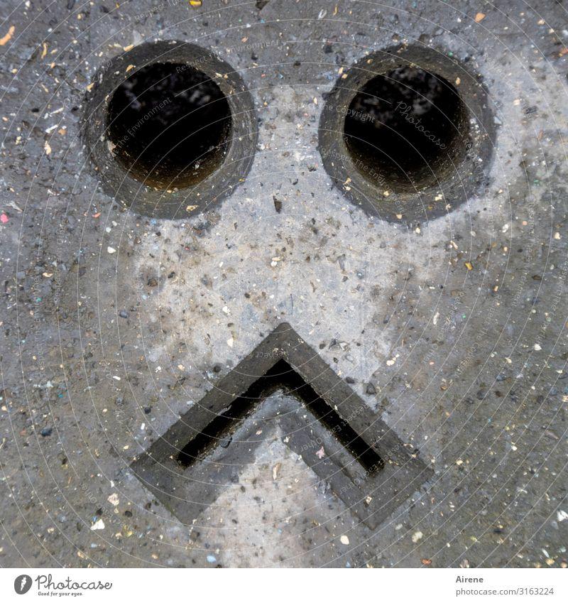 Lach doch mal! | UT Hamburg Gesicht Auge Mund Stadt Verkehrszeichen Verkehrsschild 30er Zone Betonklotz Straßensperre Barriere Zeichen Loch Schlitz rechtwinklig