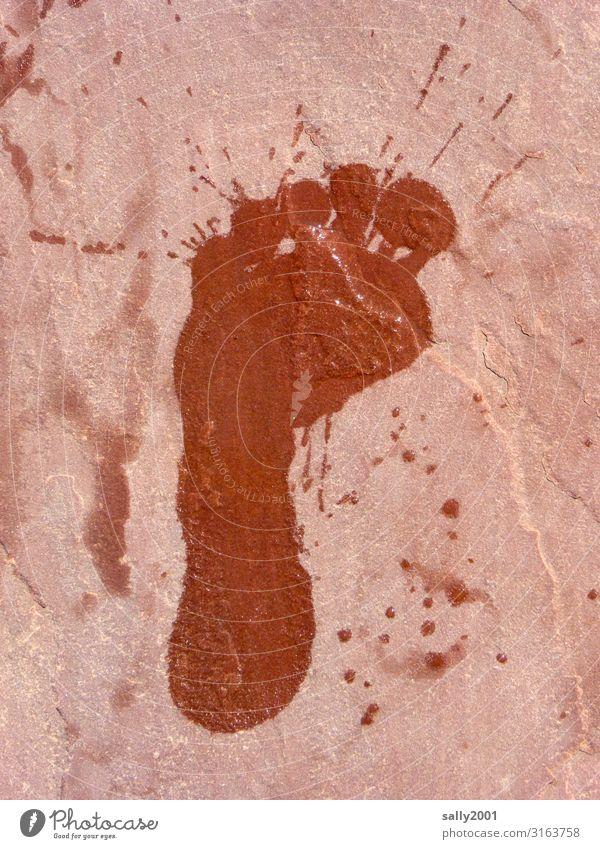 splash... Fuß 1 Mensch Coolness nass Entschlossenheit Freude Lebensfreude Fußspur Spuren spritzen Wassertropfen Fliesen u. Kacheln Schwimmen & Baden links