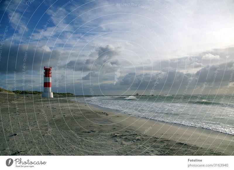 Düne Helgoland Umwelt Natur Landschaft Urelemente Erde Sand Wasser Himmel Wolken Schönes Wetter Wellen Küste Strand Nordsee Meer Insel hell maritim nass