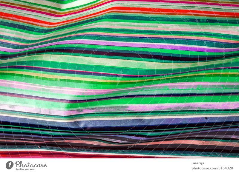 Gestreift elegant Stil Design Kunststoff Linie Streifen einzigartig mehrfarbig gelb grün violett orange rot weiß Farbe Ordnung Irritation Farbfoto Nahaufnahme